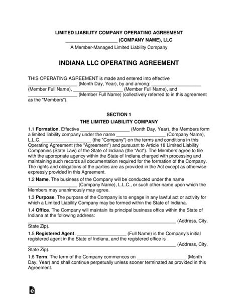Free Indiana Multi Member Llc Operating Agreement Form Word Pdf Eforms Free Fillable Forms Llc Operating Agreement Indiana Template