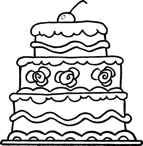 worksheet of elegant three wedding cake for kids
