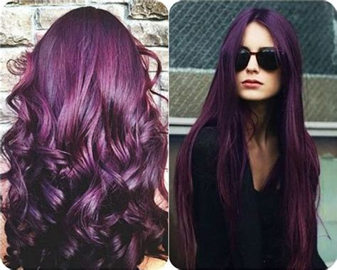 spring 2015 hair color and styles aubergine purple hair hairstyles 2015 2016 2017