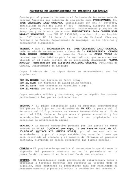 contrato de renta de casa en espanol gratis 3170507 contrato de arrendamiento rural en la ciudad de