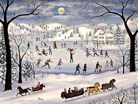 mears winter skating landscape painting
