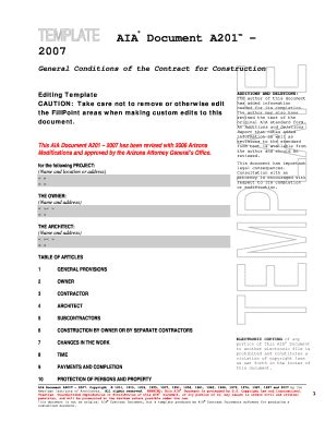 A201 2007 Microsoft Word Template Fill Online Printable Fillable Blank Pdffiller Aia Contract Template