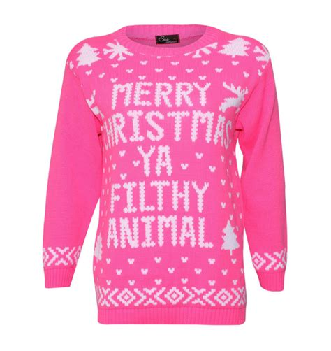 merry christmas ya filthy animal sweater pink ugly