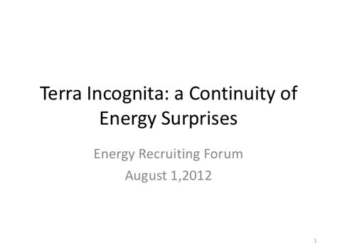 Mba Energy Concentration by Terra Incognita A Continuity Of Energy Surprises