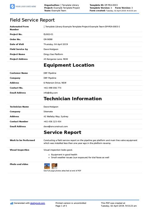 field service report template  format  word