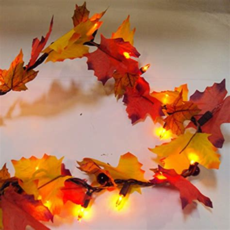 battery lighted fall garland cordless battery operated 76 quot lighted maple leaf harvest