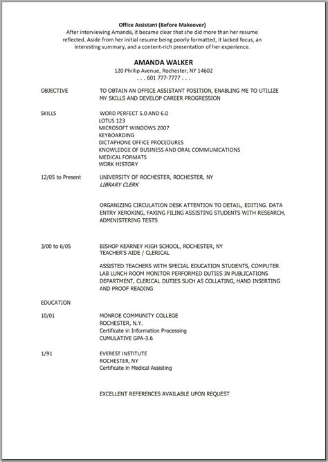 resume template for office assistant office assistant resume sle the best letter sle