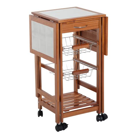 rolling kitchen island table homcom folding rolling trolley kitchen cart table island