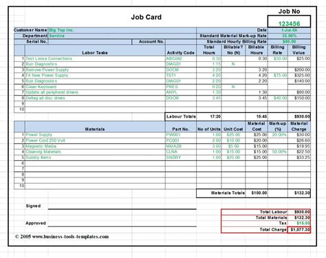 printable job card template maintenance repair job card template microsoft excel