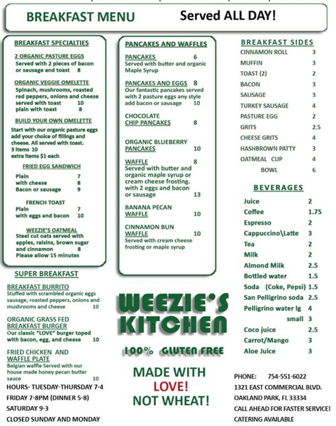 Commerce Kitchen Menu by Menu For Weezie S Kitchen 1321 E Commercial Blvd
