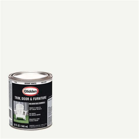 glidden trim and door 1 qt bright white gloss interior exterior paint gl 300 04 the home