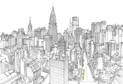 Sketches Nyc by City Manhattan Pencil And In Color City