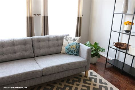 tufted couch ikea how to tuft button your ikea karlstad cushions oh