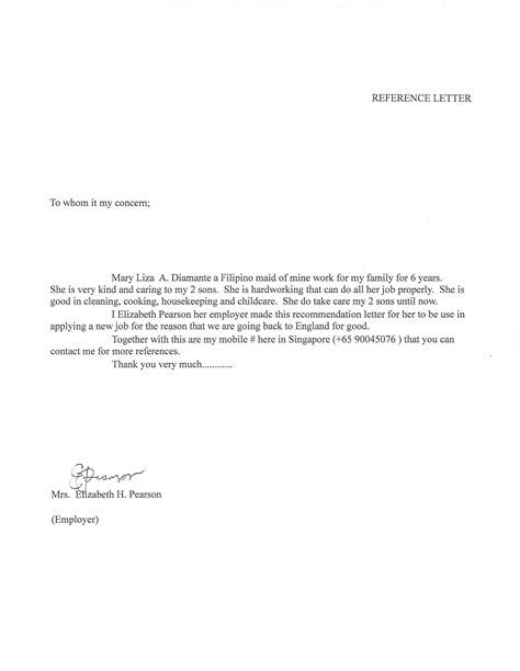 Reference Letter Vs Recommendation letter of recommendation for nanny cover letter exle