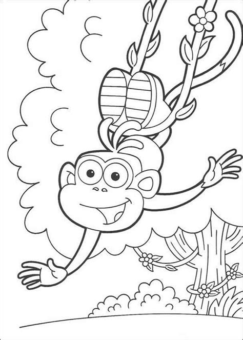 swinging monkey coloring page boots the monkey images boots swinging from a vine hd