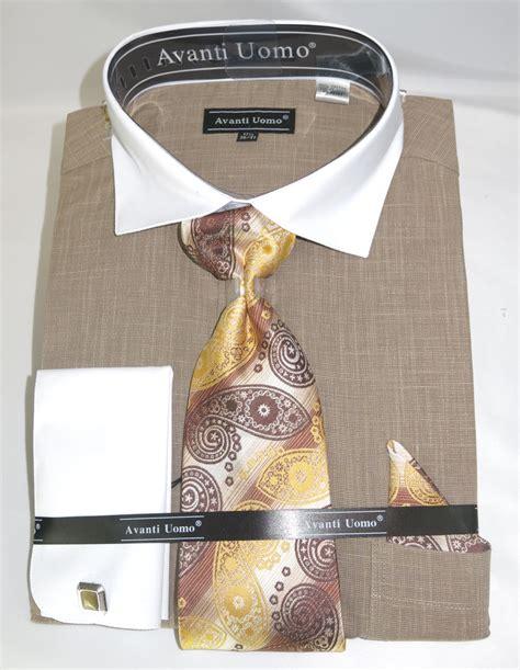 avanti dn73m beige s cuff dress shirt linen