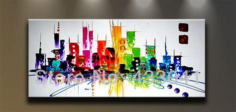 painted large city building landscape painting
