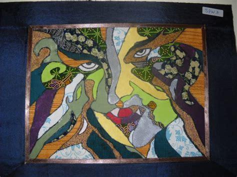 Lukisan Hiasan Dinding Abstrak Deco Flo 3 In 1 1 lukisan wajah abstak dari kain perca hiasan dinding
