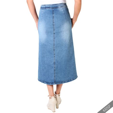womens classic retro button knee denim skirt boho 70s