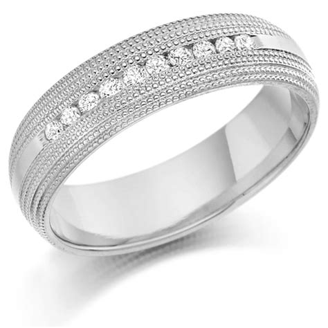 platinum gents 6mm wedding ring with 0 30ct of channel set