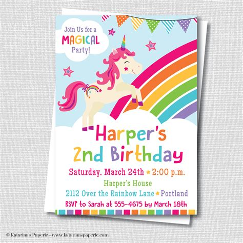free printable unicorn invitation unicorn party invitation katarina s paperie