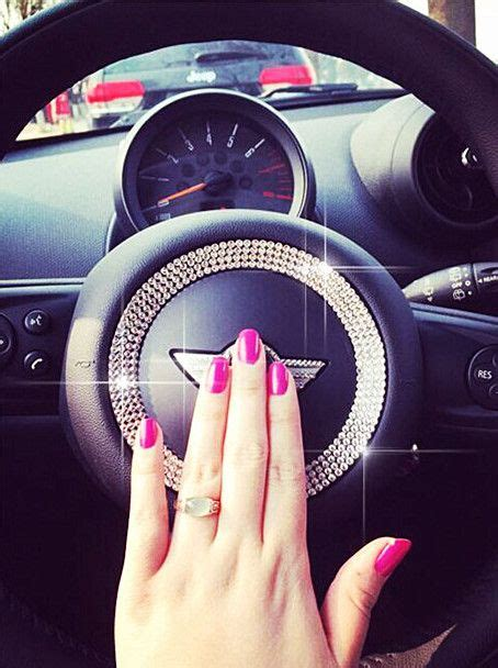 blue girly cars bling steering wheel sticker for mini cooper countryman