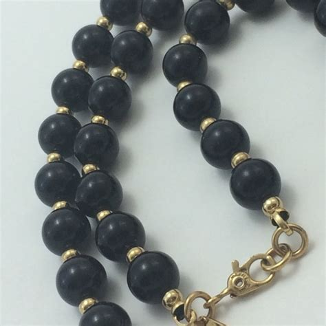 black bead earrings gold vintage monet black gold bead necklace os from meghan s