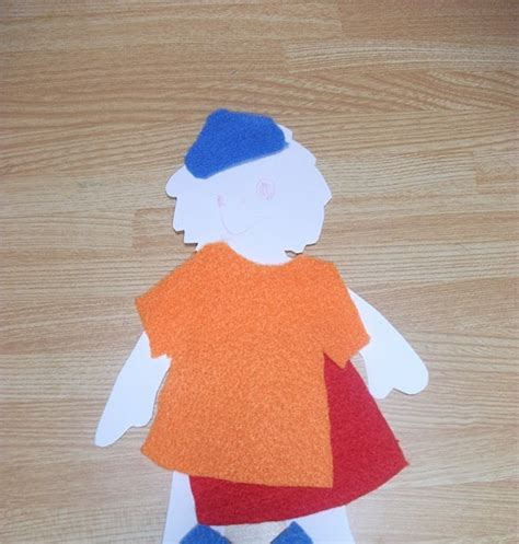 Felt Paper Craft - felt clothes paper doll craft preschool crafts for