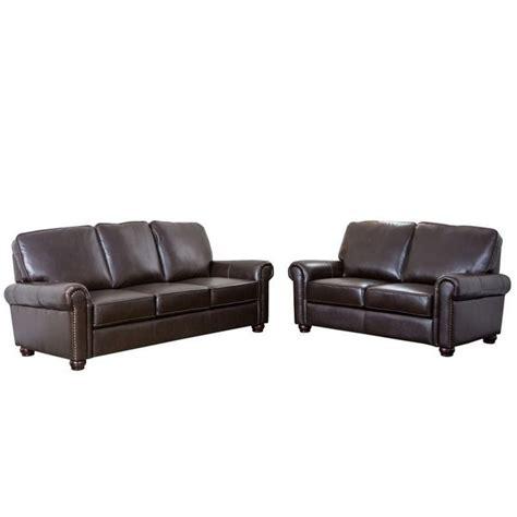 leather sofa london abbyson living london 2 piece leather sofa set in dark