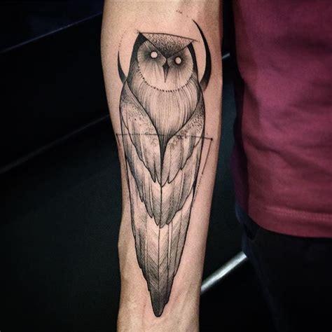 owl tattoo on leg calf by alex gallo 57 latest black owl tattoos ideas