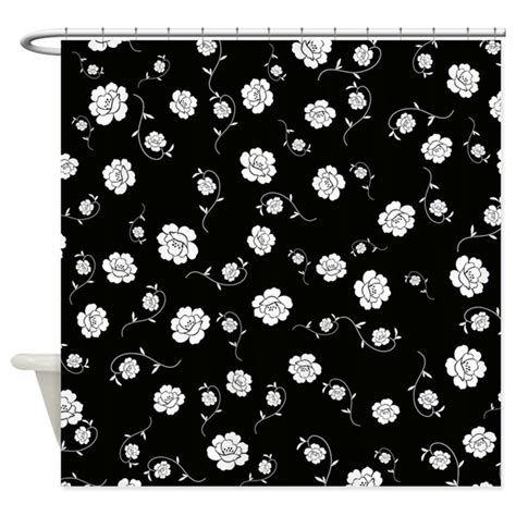 black shower curtain with white flower white flowers on black shower curtain by stircrazy