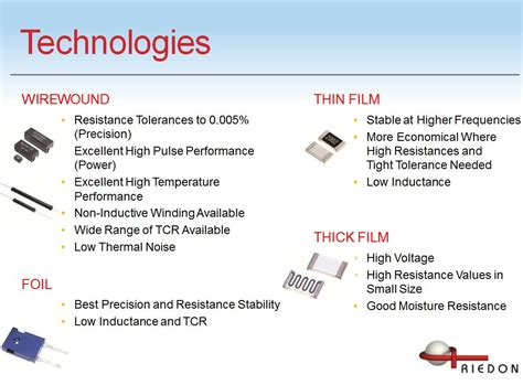 resistor applications wirewound foil thin and thick each technology has it s own advantages riedon