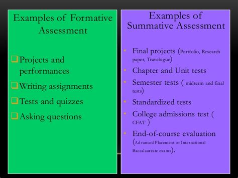 exle of formative assessment summative assessment advantages vs disadvantages