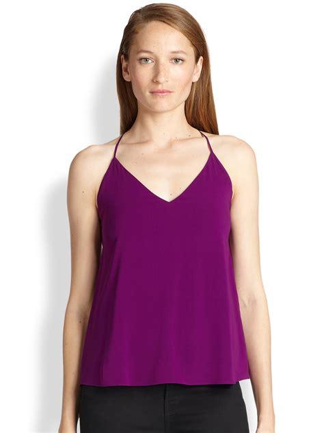 Purple Top 1 stretch silk doublestrap camisole top in purple lyst