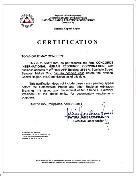 certification letter for domestic helper nlrc clearance 21 april 2014 concorde