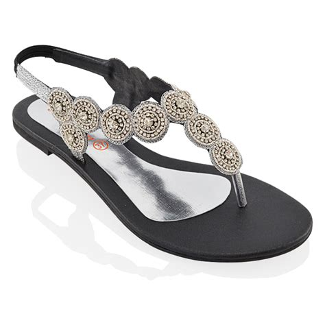 flat black sparkly shoes womens sling back flat diamante sparkly summer