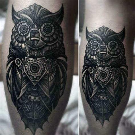 mechanical owl tattoo 3d mystical detailed mechanical owl on leg