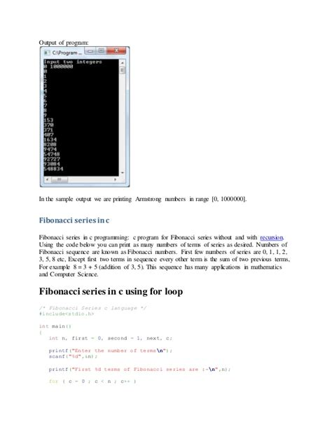 pattern programs in c using recursion c program fibonacci series using for loop watch online