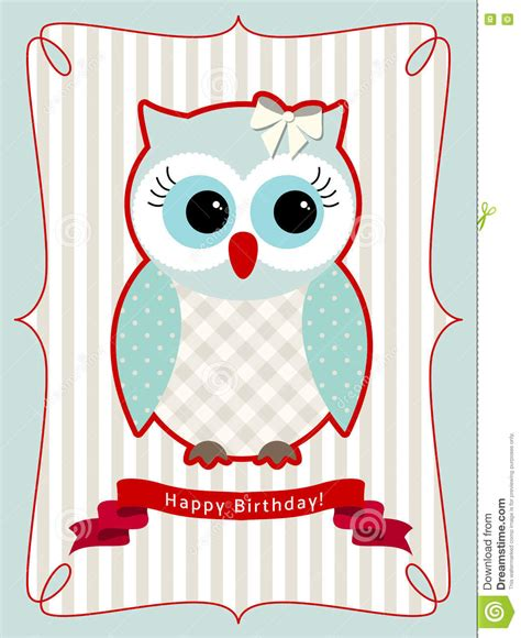 greeting card template with cute owl vector free download cute owl birthday card illustration stock vector image
