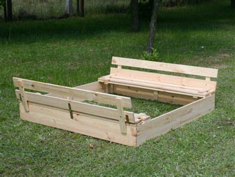wooden sandbox with bench sandpit p 03 120x120x20 wooden sandbox with benches lid