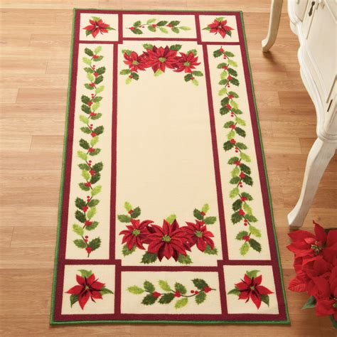 christmas accent rugs cream colored poinsettia holly holiday accent rug