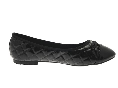 womens slip on quilted ballet pumps faux patent leather