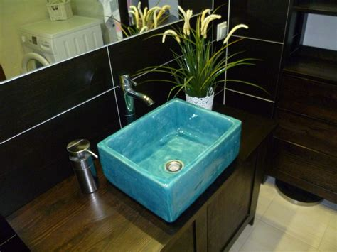 waschbecken retro design turkus waschbecken badezimmer wohn idee bad wohnideen