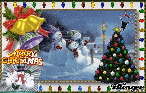 merry christmas snowman tree glitter picture