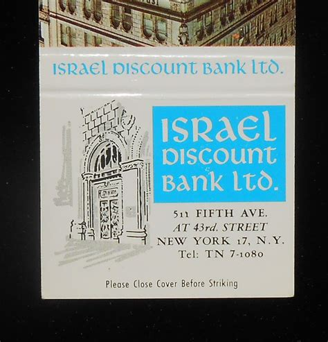 israel discount bank 1960s matchbook israel discount bank 511 fifth ave color