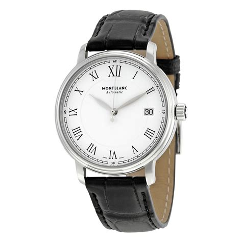 montblanc tradition white black leather automatic