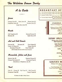 brown derby restaurant breakfast menu los angeles