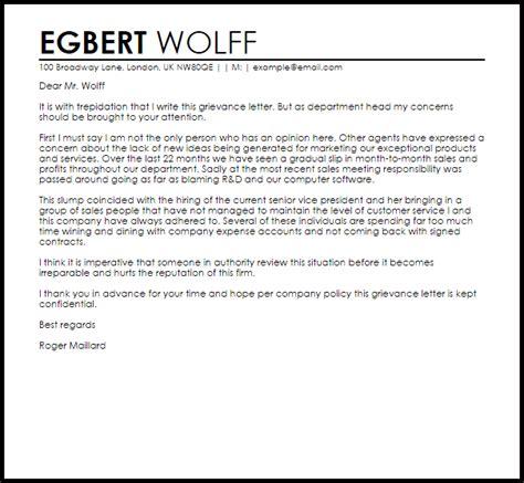 grievance letter letter samples templates
