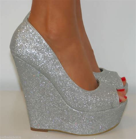 shoes silver high heels silver platforms glitter shoes