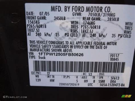 2005 f150 color code t7 for metallic photo 69240300 gtcarlot